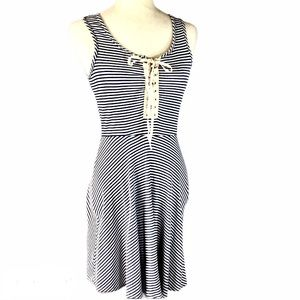 Bo Bell blue white stripe lace up rib knit dress